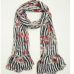 New Torrid Mixed Floral Stripe Ruffled Scarf